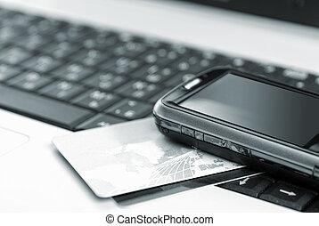 handy, notizbuch, karten, kredit