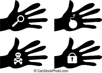handy objects - collection of silhouette hands holding...