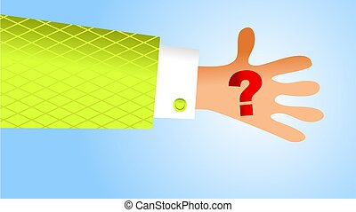 handy question - holding question mark symbol in the palm of...
