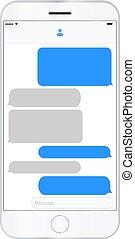handy, schirm, messaging, text, kästen, leerer , bubles