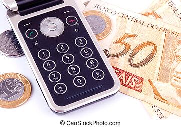 handy, und, geld, von, brasilien