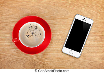 handy, und, kaffeetasse