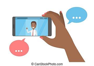 handy, video, freund, unterhaltung