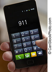 handy, wählen, 911, hand