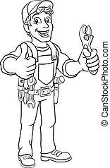 handyman, スパナー, レンチ, 配管工, 漫画, 機械工