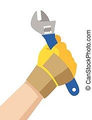 handyman, レンチ, 手を持つ
