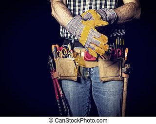 handyman, 細部, 上に, 黒