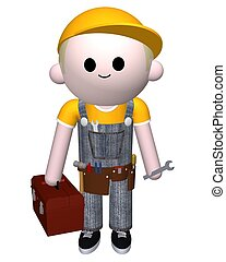 Handyman - 3D illustration of a man with toolbox and tools