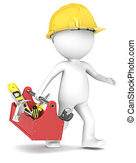 Handyman. - 3D little human character The Builders running...