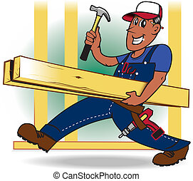 Handyman - A happy tradesman carrying lumber and tools
