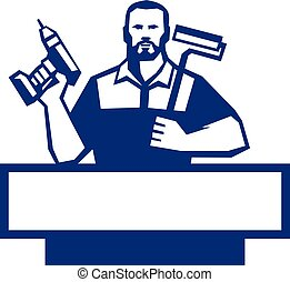handyman, barbudo, furadeira cordless, paintroller, retro