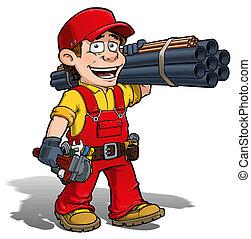 handyman, -, blikkenslager, rød