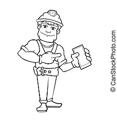 Handyman, builder in helmet pointing to the smartphone.