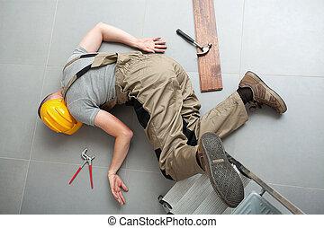 handyman, caiu, de, escada