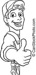 Handyman Caretaker Construction Sign Cartoon Man