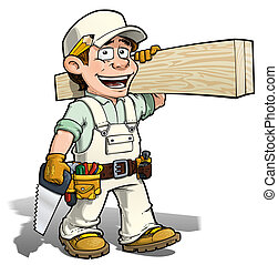 Handyman - Carpenter White - Cartoon illustration of a...