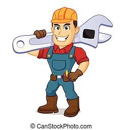 Handyman carrying adjustable wrench