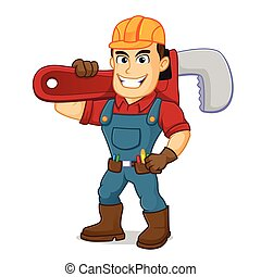 Handyman carrying pipe wrench cartoon illustration, can be download in vector format for unlimited image size