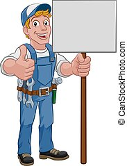 Handyman Cartoon Caretaker Construction Sign Man