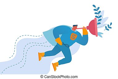 Handyman Character Wearing Super Hero Costume Holding Huge Plunger in Hand Flying in Sky to Help People with Household Duties and Broken Technique, Husband on an Hour. Cartoon Vector Illustration