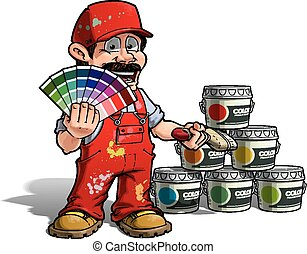 Handyman - Colour Picking Painter Red Uniform - Cartoon...