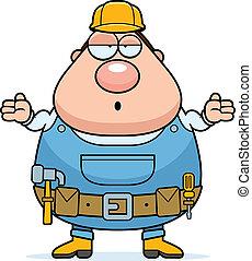 Handyman Confused - A cartoon handyman looking confused and ...