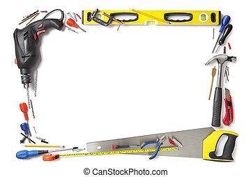 handyman, construtor, borda, fundo