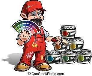 handyman, cor, -, uniforme, pintor, colheita, vermelho