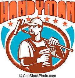 Handyman Cordless Drill Paint Roller Oval Retro