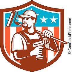 Handyman Cordless Drill Paintroller Crest Flag Retro