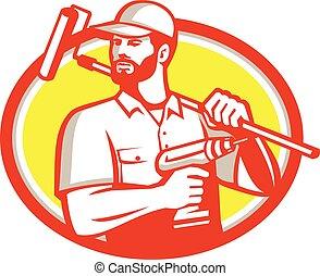Handyman Cordless Drill Paintroller Oval Retro