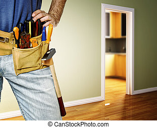 handyman, detalje, toolbelt