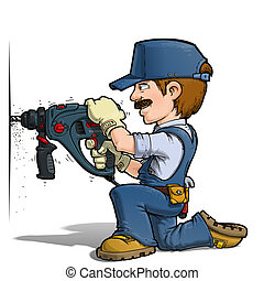 Cartoon illustration of a handyman drilling on a wall.
