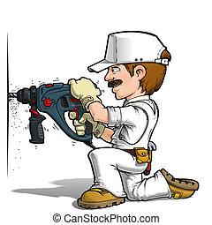 Handyman - Drilling Color it Yourself - Cartoon illustration...