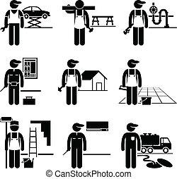 handyman, dygtig, arbejde, professioner