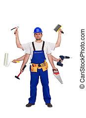 handyman, eller, arbejder, -, al handler domkraft