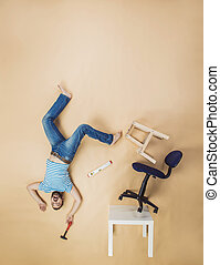 Handyman falling from height - Handyman falling dangerously...