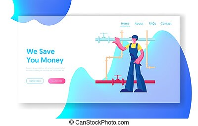 Handyman Fixing Broken Technics and Sanitary at Home Website Landing Page. Plumber Worker Character with Wrench Tool Wearing Overalls Fix Pipes System Web Page Banner, Cartoon Flat Vector Illustration