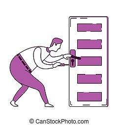 Handyman fixing door knob flat silhouette vector ...