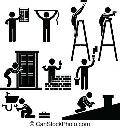 Handyman Fixing Repairing Symbol - A set of pictogram...