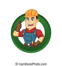 Handyman give thumb up inside circle