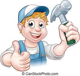 handyman, hamer, spotprent, vasthouden, timmerman