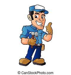 handyman hammer - handyman holding a hammer. vector ...