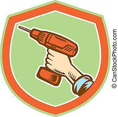 Handyman Hand Holding Cordless Drill Retro