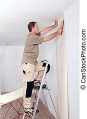 handyman, het leggen, behang