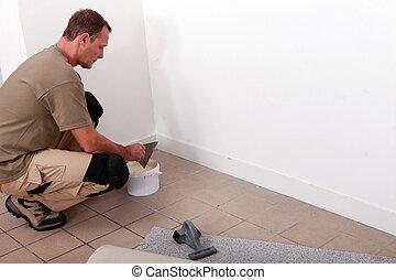 handyman, het leggen, gepaste, tapijt