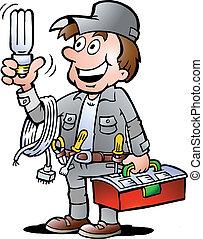 Handyman, holding a bulb - Hand-drawn Vector illustration of...