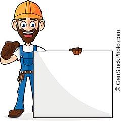 Handyman Holding Blank Sign Giving Thumb Up