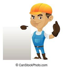 Handyman holding blank sign