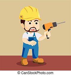 handyman holding drill illustration